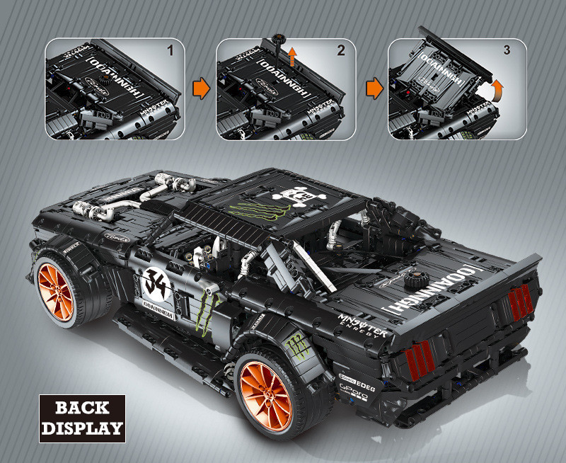 Custom Technic Ford Mustang Hoonicorn Building Bricks Toy Set 3168 Pieces