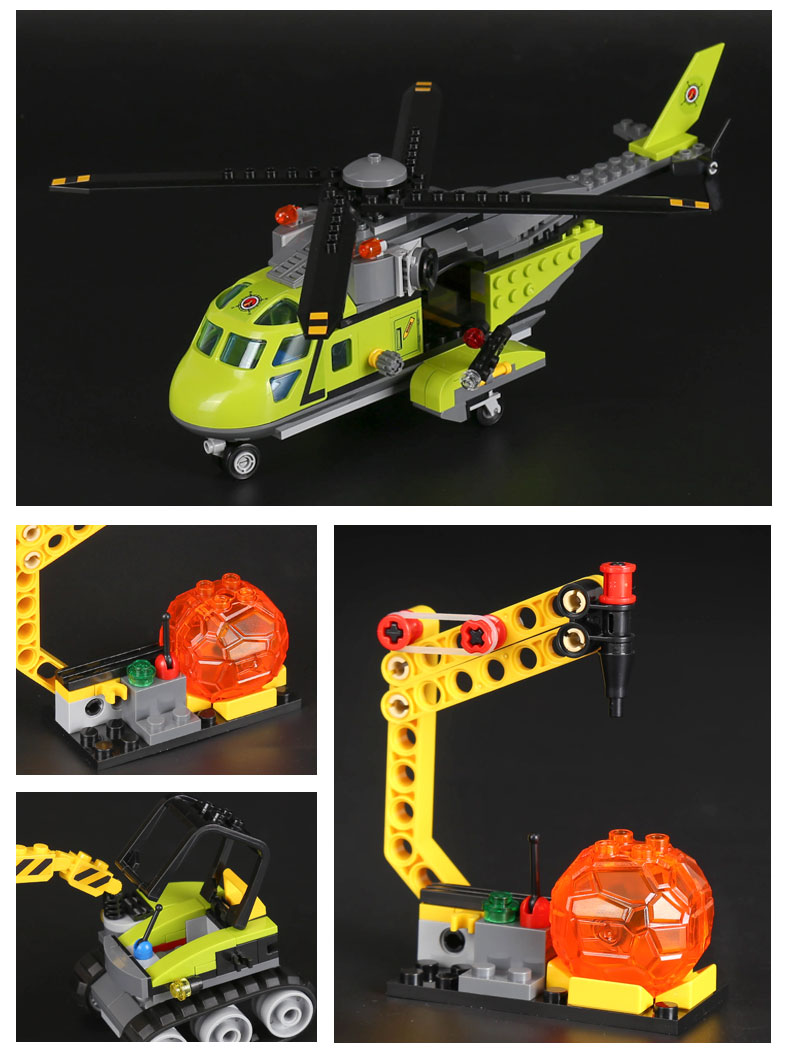 LEPIN 02004 Building Blocks Volcano Supply Helicopter Brick Sets