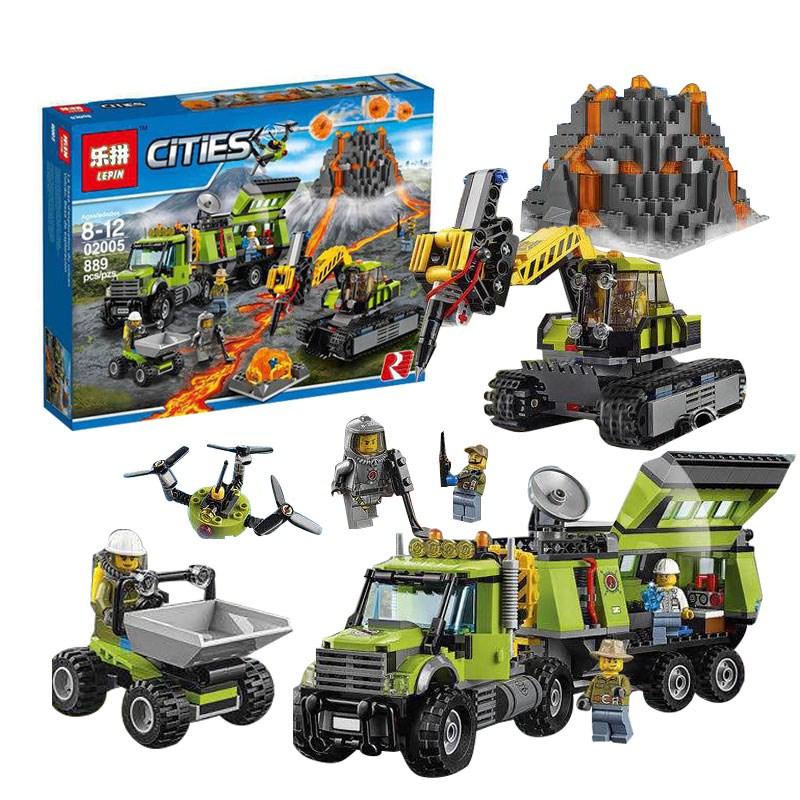 LEPIN 02005 Volcano Exploration Base Building Toys Compatible Building Blocks