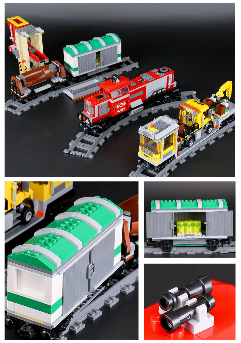 LEPIN 02039 Building Blocks Red Cargo Train Brick Sets