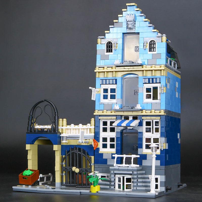 CUSTOM 15007 Building Blocks Toys Market Street Building Brick Sets