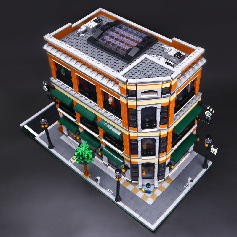 CUSTOM 15017 Building Blocks MOC Street View Starbucks Bookstore Cafe Building Brick Sets