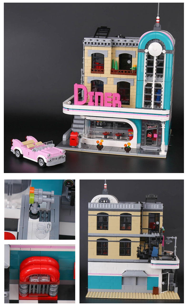 LEPIN 15037 Creator Expert Downtown Diner Building Bricks Set