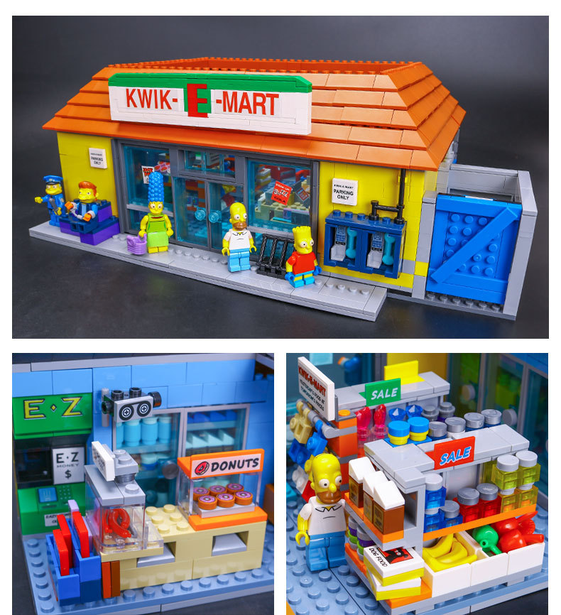 CUSTOM 16004 Building Blocks The Simpsons Kwik-E-Mart Building Brick Sets