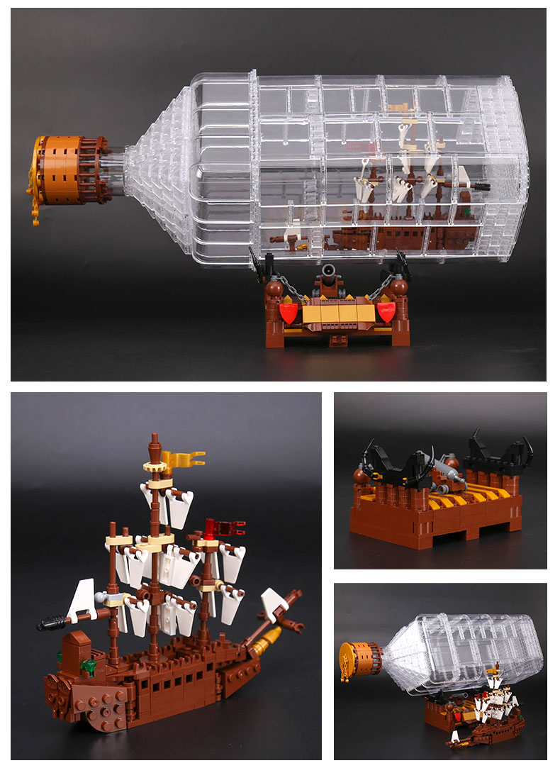 CUSTOM 16045 Building Blocks Toys MOC Ship in a Bottle Building Brick Sets