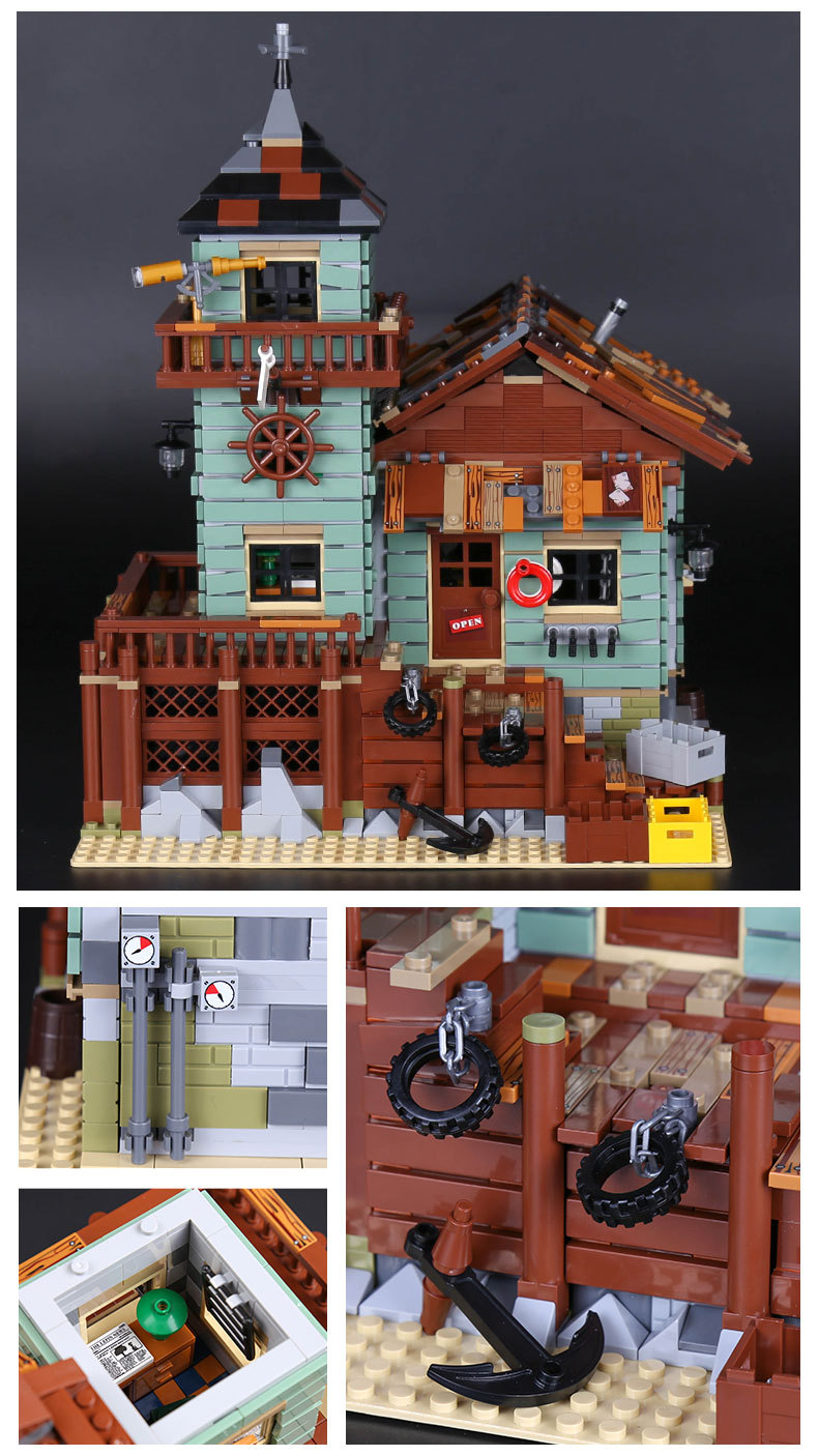 LEPIN 16050 Building Blocks Toys Ideas Old Fishing Store Building Brick Sets