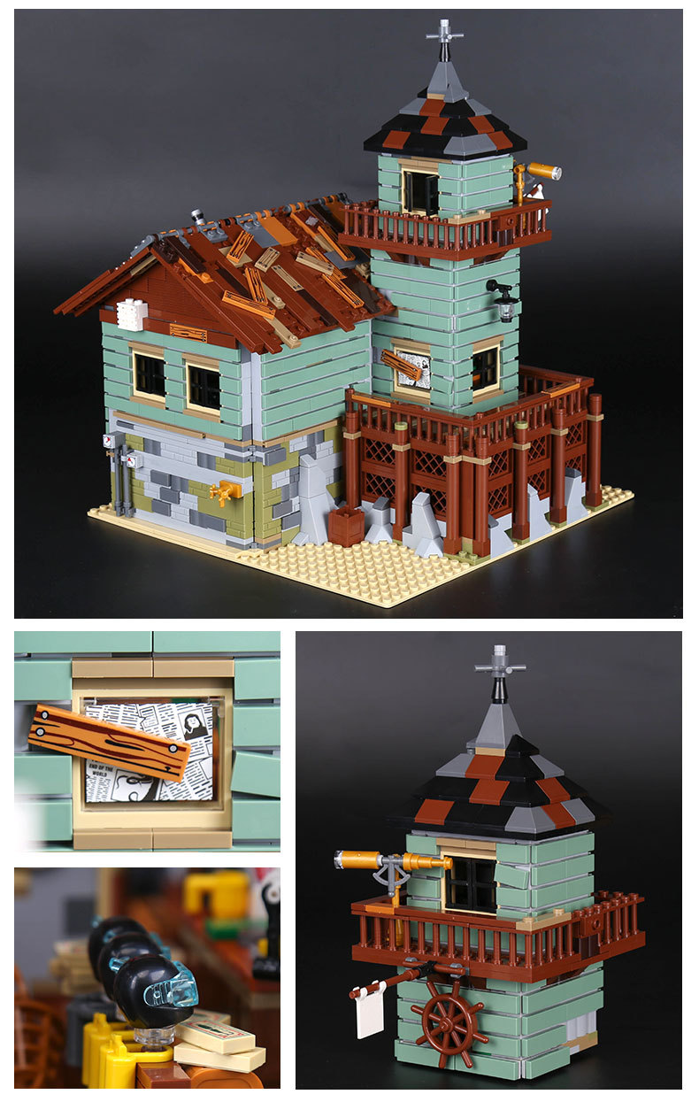 CUSTOM 16050 Building Blocks Toys Ideas Old Fishing Store Building Brick Sets