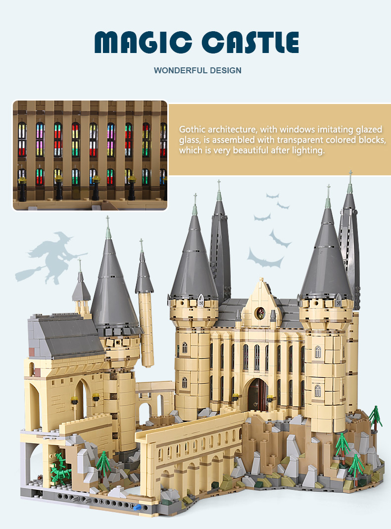 CUSTOM 16060 Hogwarts Castle Building Bricks Set
