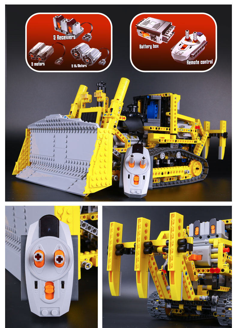 CUSTOM 20008 Building Blocks Technic Motorized Bulldozer Building Brick Sets
