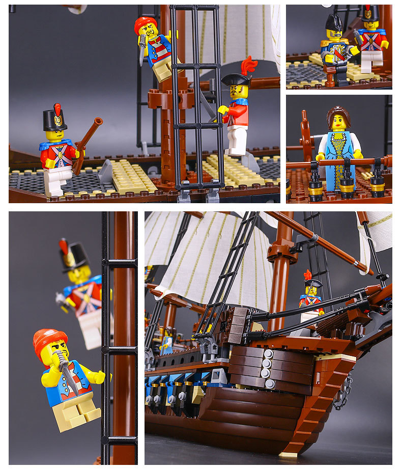 LEPIN 22001 Building Blocks Toys Pirates of the Caribbean Imperial Flagship Building Brick Sets