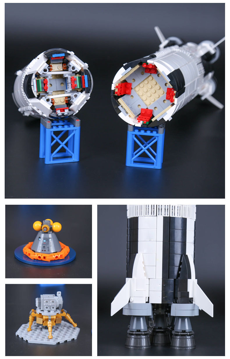 CUSTOM 37003 Building Blocks Toys Ideas NASA Apollo Saturn V Building Brick Sets