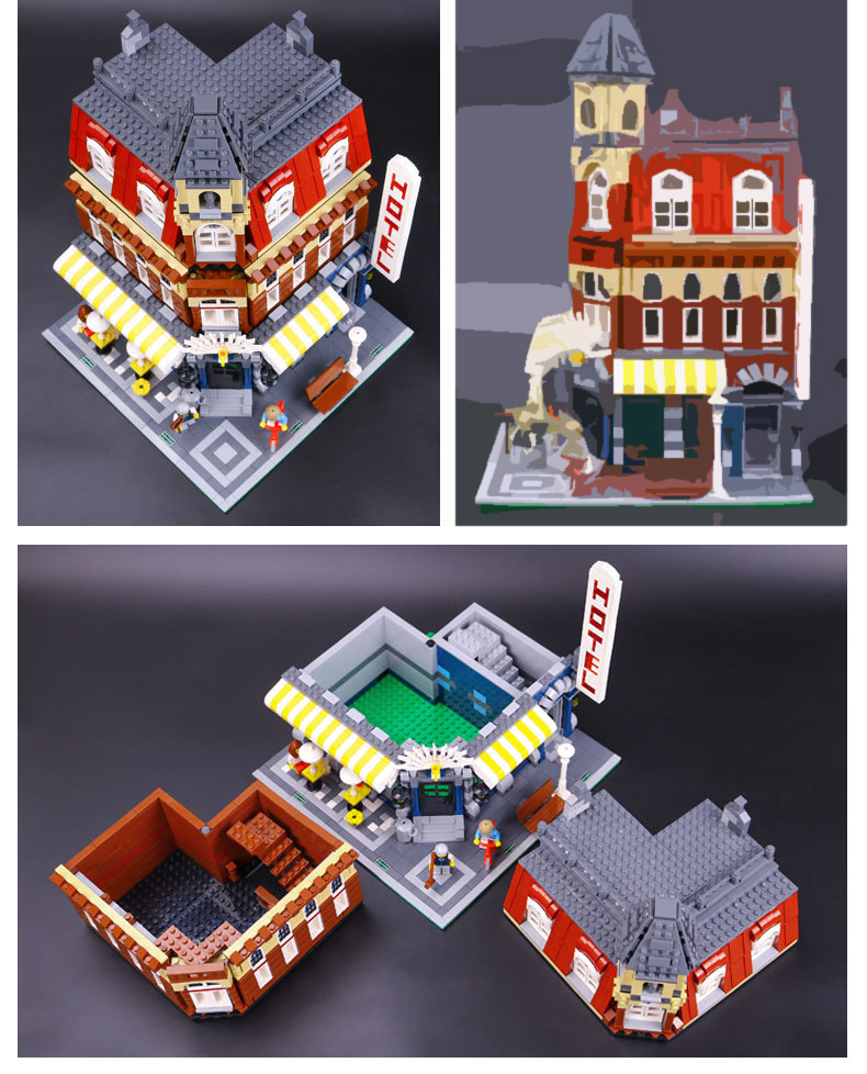 LEPIN 15002 Building Blocks Cafe Corner Building Brick Sets