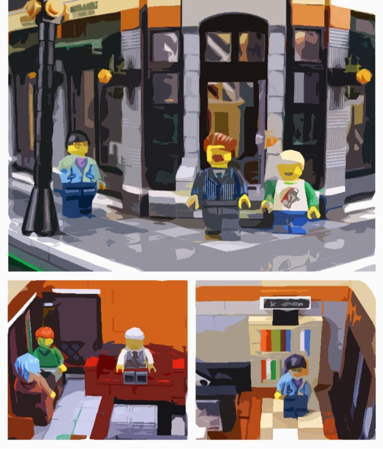 CUSTOM 15017 Building Blocks MOC Street View Starbucks Bookstore Cafe Building Brick Sets