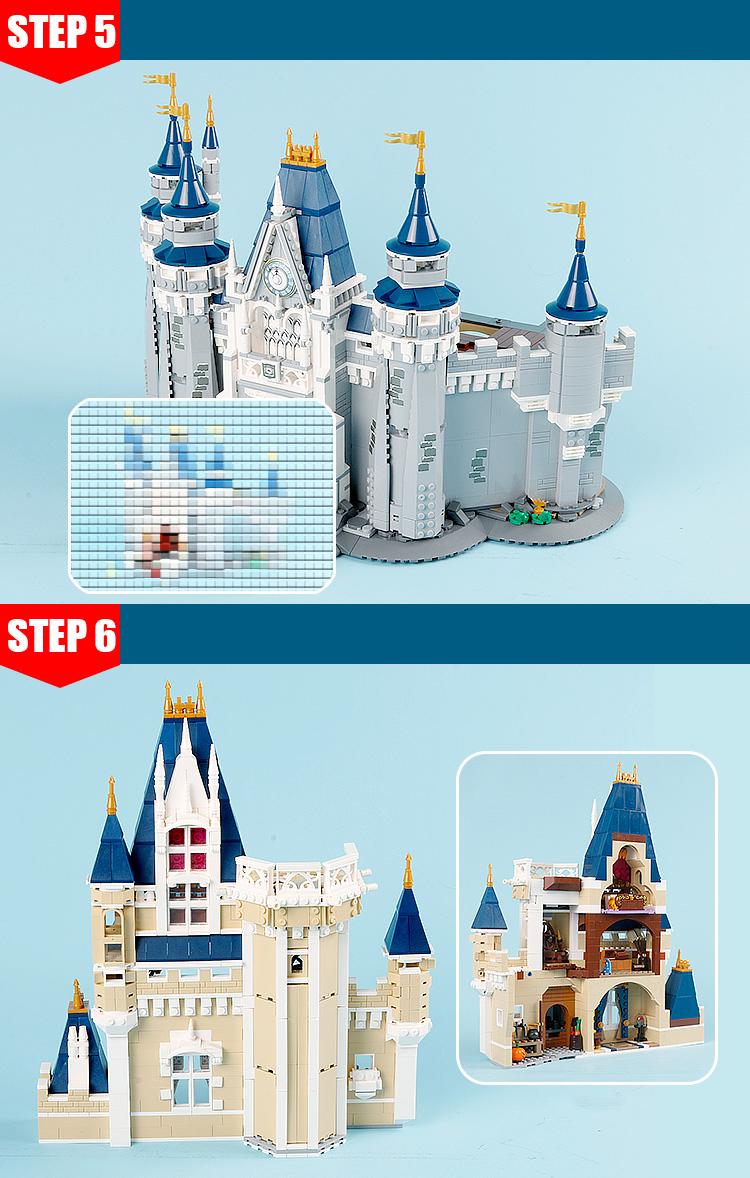 CUSTOM 16008 Building Blocks Disney Castle Building Brick Sets