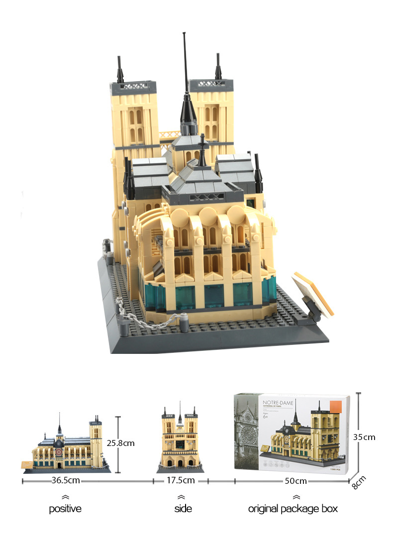 WANGE Architecture Notre Dame Cathedral 5210 Building Blocks Toy Set