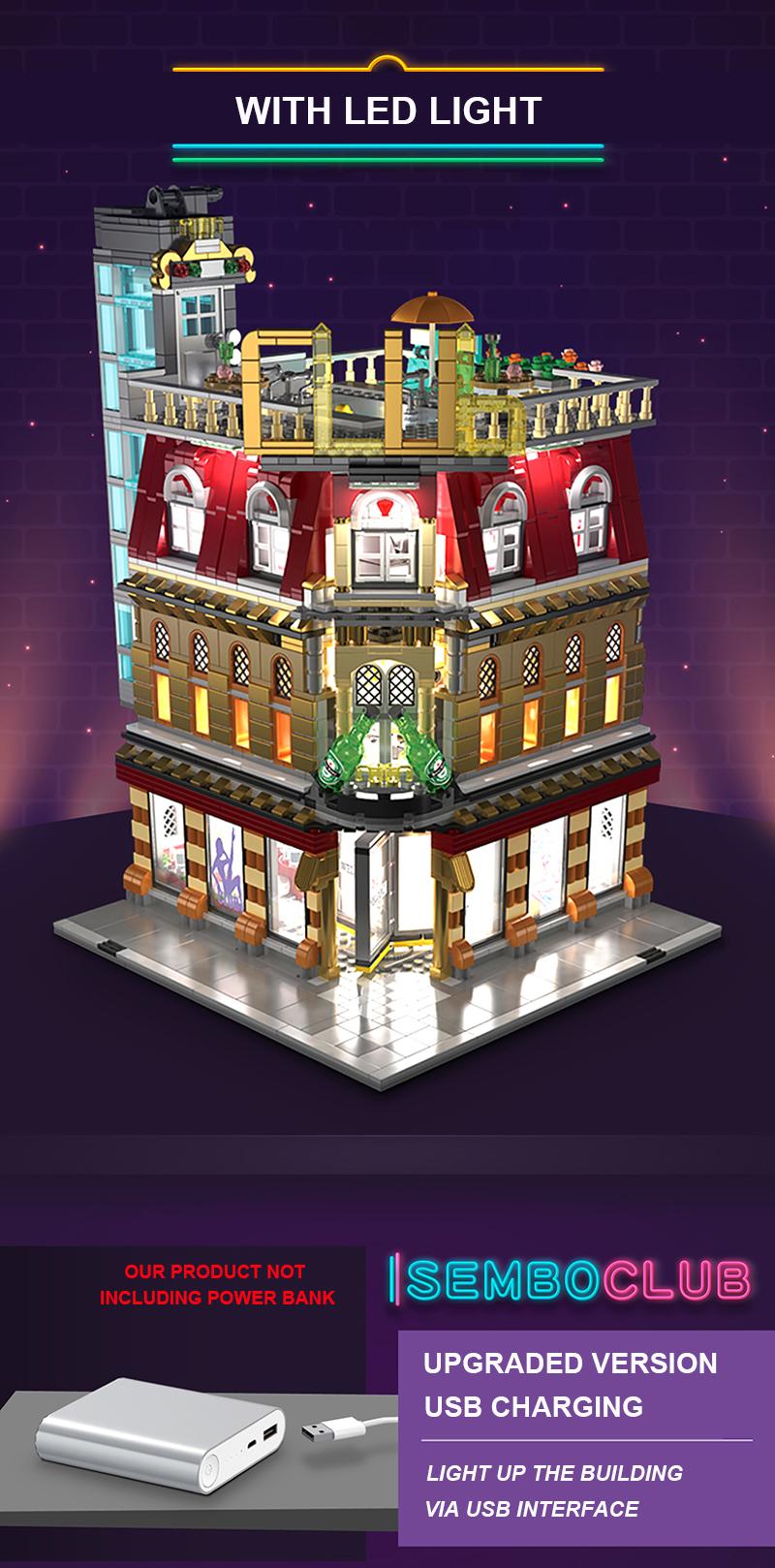 SEMBO SD6991 Nightclub With Light Building Blocks Toy Set