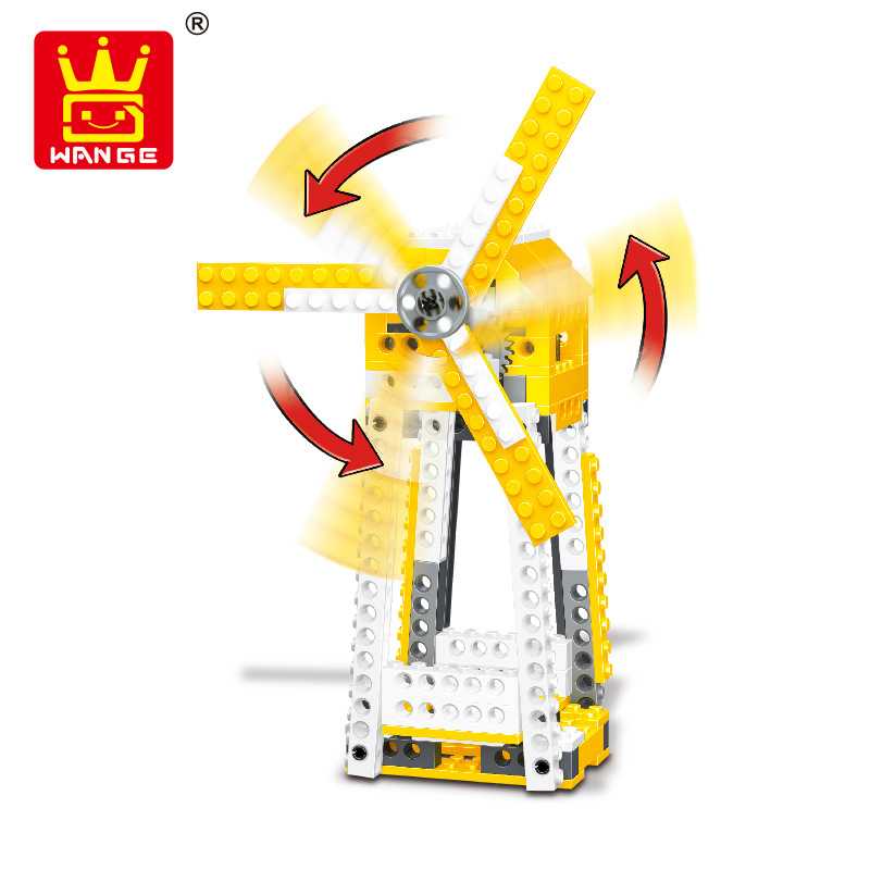 WANGE Mechanical Engineering Domino machine power machinery 1405 Building Blocks Toy Set