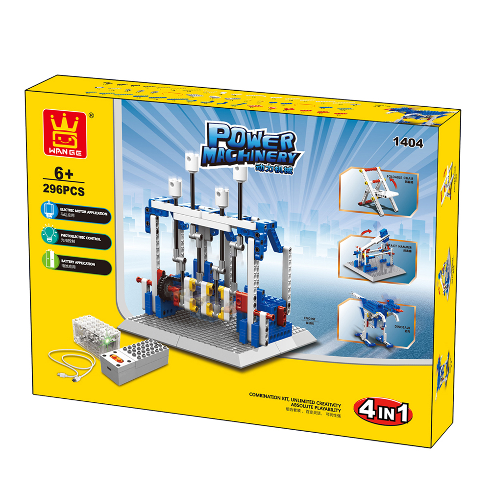 WANGE Mechanical Engineering Engine Engineering Electromechanical 1404 Building Blocks Toy Set