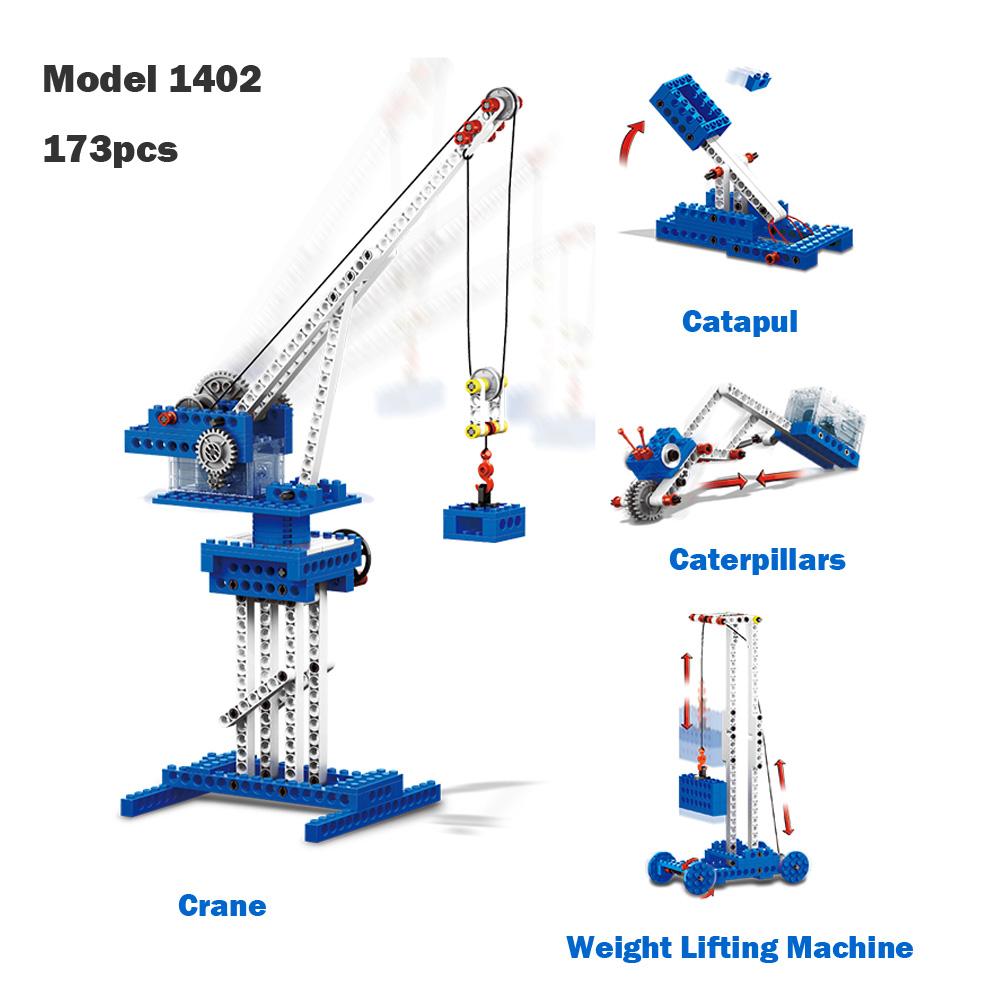 WANGE Mechanical Engineering Engineering tower crane power machinery 1402 Building Blocks Toy Set