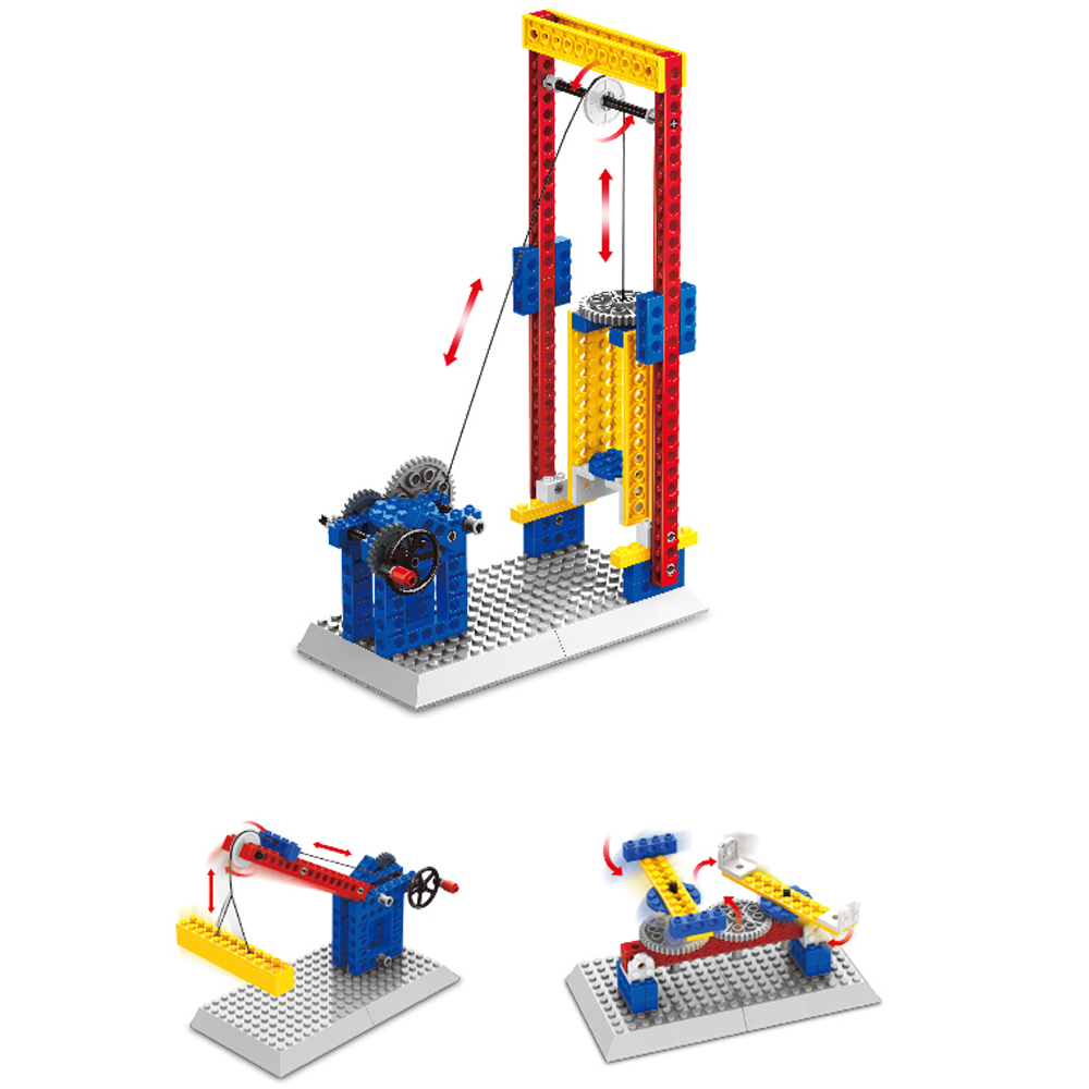 WANGE Mechanical Engineering Lift engineering manual machinery 1304 Building Blocks Toy Set