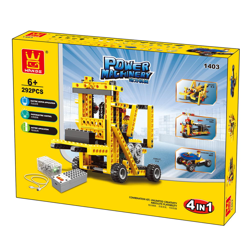 WANGE Mechanical Engineering Lifting forklift engineering electric machinery 1403 Building Blocks Toy Set