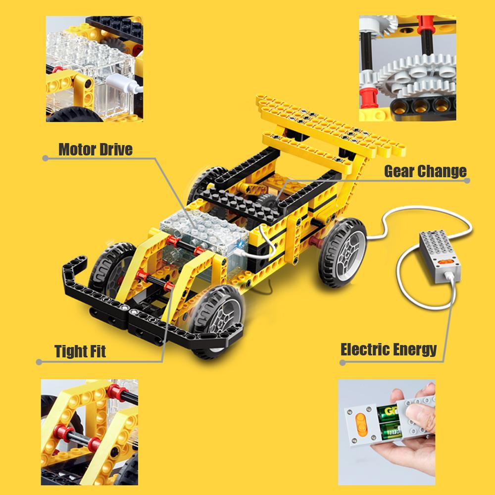 WANGE Mechanical Engineering Speed change car engineering electric machinery 1401 Building Blocks Toy Set