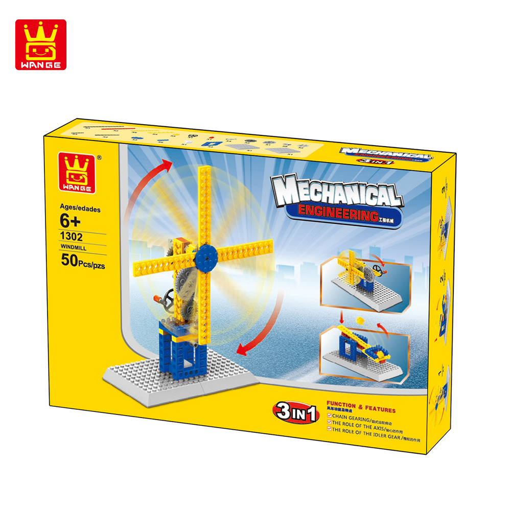 WANGE Mechanical Engineering Windmill engineering manual machinery 1302 Building Blocks Toy Set