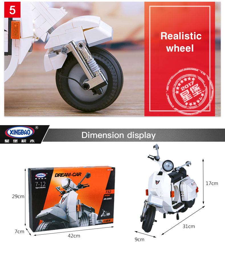 XINGBAO 03002 Vespa P200 Moto Building Bricks Set