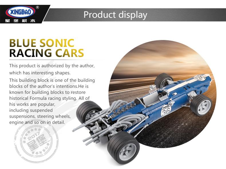 XINGBAO 03022 Blue Sonic Racing Cars Building Bricks Set