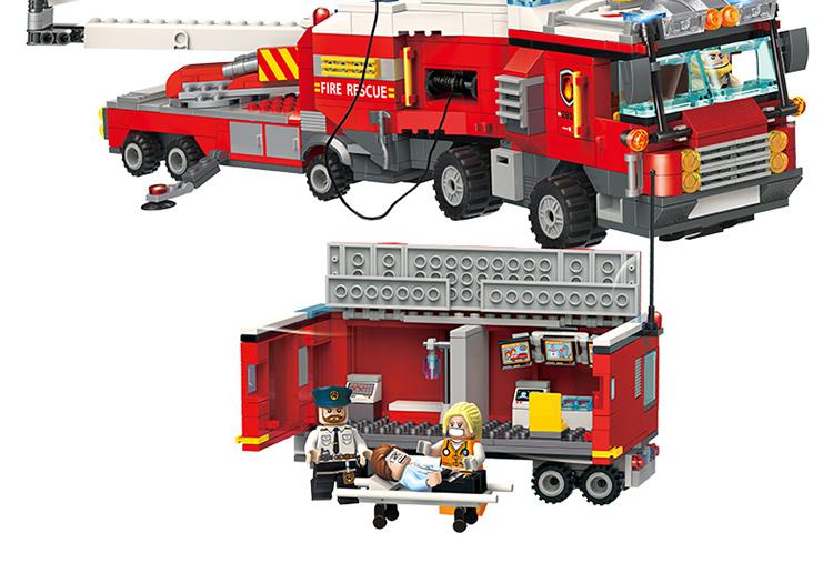 ENLIGHTEN 2810 Double Fire Truck Attack Building Blocks Set