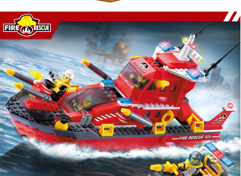 ENLIGHTEN 906 Water Spray Fire Boat Building Blocks Set