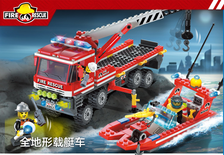 ENLIGHTEN 907 AT Fire Boats Carrier Building Blocks Set