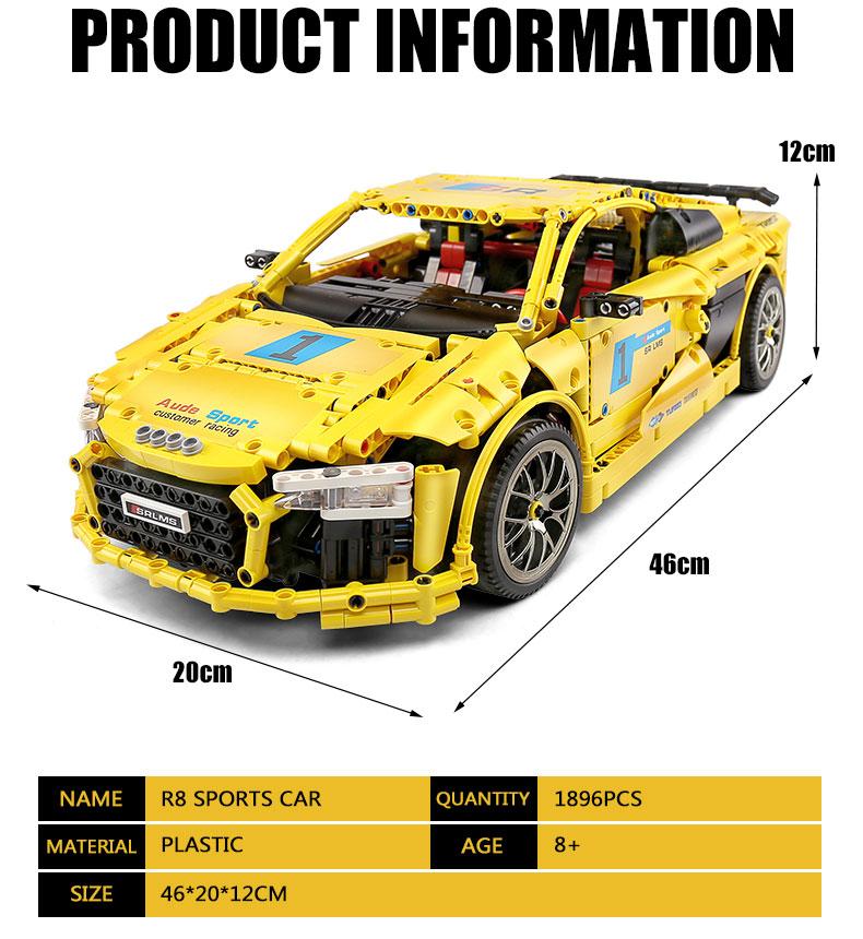 MOULD KING 13127 Audi R8 V10 Second Generation 1-10 by Artemy Zotov Building Blocks Toy Set