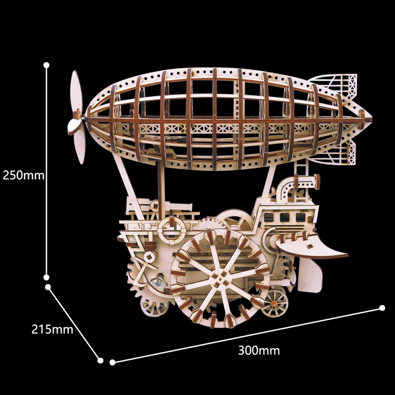ROKR 3D Puzzle Moveable Airship Wooden Building Toy Kit