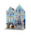 MOLD KING 16020 Europäischer Markt mit LED-Leuchten Street View-Serie Bausteine-Spielzeug-Set