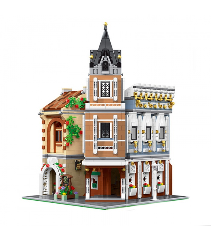MOULD KING 16026 Street View Series Small Town Tea House Building Blocks Toy Set
