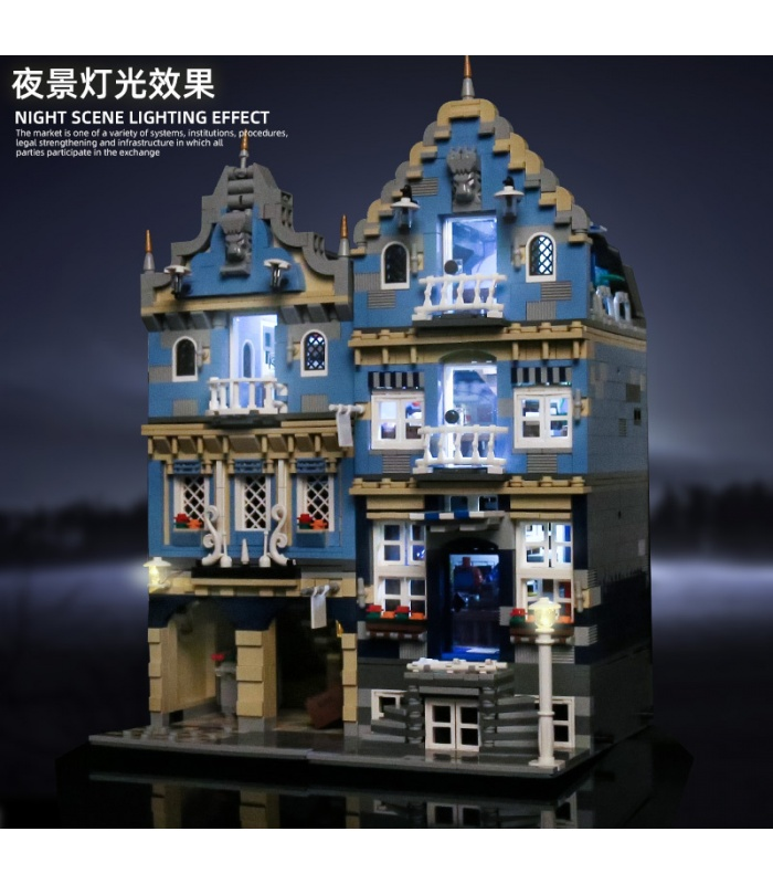 MOULD KING 16020 European Market with LED Lights Street View Series Building Blocks Toy