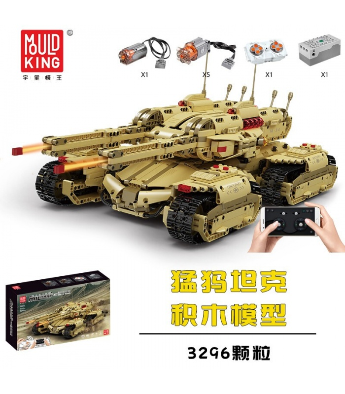 MOULD KING 20011 RC Red Alert Mammoth Tank Building Blocks Toy Set