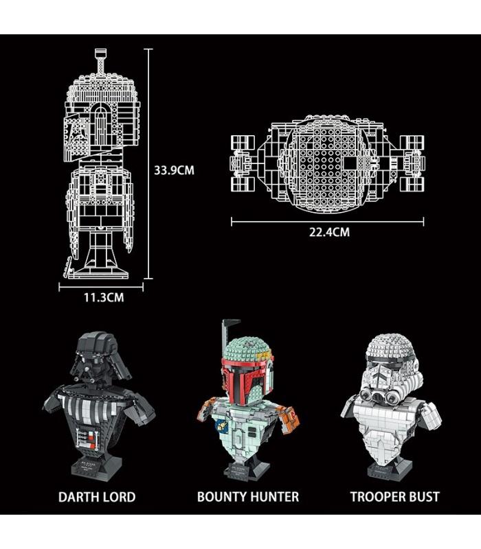 MOLD KING 21021 Bounty Hunter Büste Bausteine-Spielzeug-Set