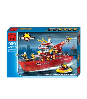 ENLIGHTEN 909 Multi-Function Fire Ship Building Blocks Set