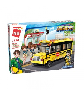 AUFKLÄREN 1136 Erbauen Schule-Bus-Bausteine-Set