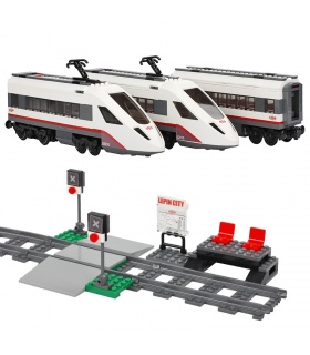 Custom High-Speed Passenger Train Building Bricks Set 610 Pieces