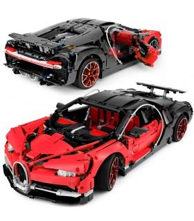 Custom Red Bugatti Chiron Compatible Building Bricks Toy Set