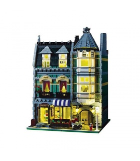 Custom Green Grocer With Light Kit Compatible Building Block Set