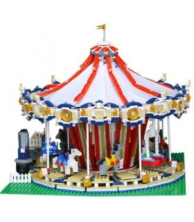 カスタム作成の専門家レクスポ見本市会場グランドカルーセル建物の煉瓦玩具セット3263個