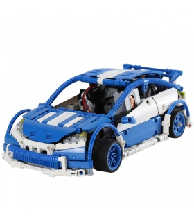 Custom MOC Blue Hatchback Type R Building Bricks Toy Set 640 Pieces
