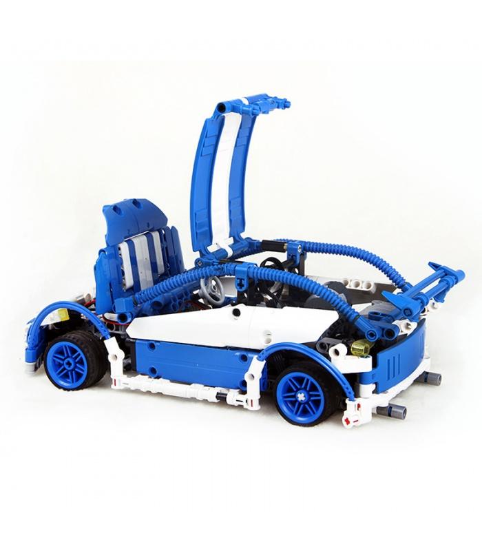 Custom MOC Blue Hatchback Type R Building Bricks Toy Set 640 Pieces