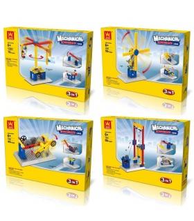 WANGE Ingeniería Mecánica 1301-1304 Conjunto de 4 Bloques de Construcción de Juguete Set