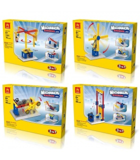 WANGE Mechanical Engineering 1301-1304 Set of 4 Building Blocks Toy Set