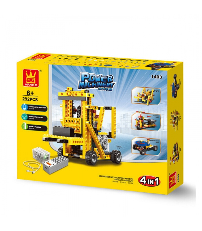 WANGE Power Maschinen Gabelstapler 1403 Building Blocks Spielzeug-Set